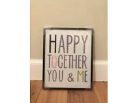 """M&S print """"Happy Together You And Me"""", new"""