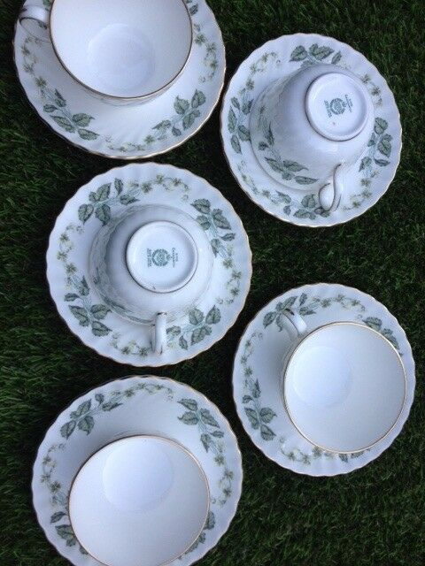 5 Bone China cups & saucers. Minton.