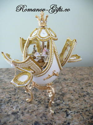 Russian Imperial White Nutcracker Musical Carousel Egg & Pendant necklace for sale  Highlands