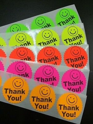 25 Big Thank You Label Smiley 2 Sticker Starburst Colors Neon Fluorescent New
