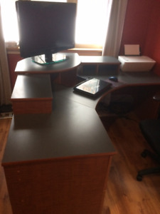 Office desk with monitor stand & drawers