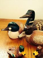 Hand Carved wood Ducks and wall mounted Key Holder,  Collectable