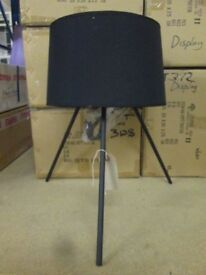 TOP QUALITY METAL TRIPOD TABLE TOP LAMP WITH MATT BLACK SHADE BRAND NEW IN BOX