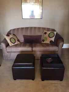 2 Brown Leather Cubes table/storage