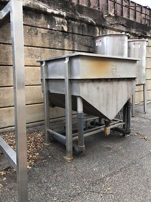 200 Gallon Stainless Steel Hopper Cone Tank. Has Drains. Food Grade