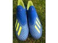 Almost new Adidas Kids X 18+FG - Football Blue/Solar Yellow/Core Black UK 5.5