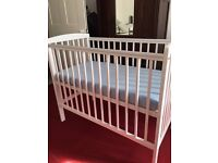 White cot for sale with mattress