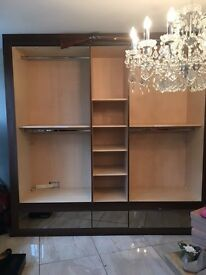 clothing units - dark wood veneer with light wood interiors - mirrored draws