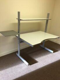 Office Desk with integral adjustable shelf and printer holder