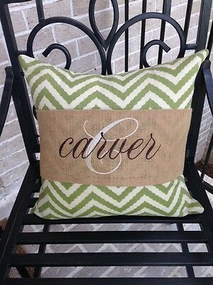 (Burlap Pillow Band Wrap Personalized)