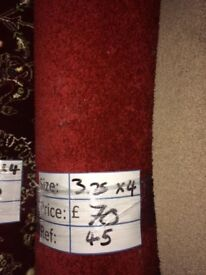 Red Short Pile Carpet Remnant (3.25 x 4.00 metres) for £70 - REF: 045