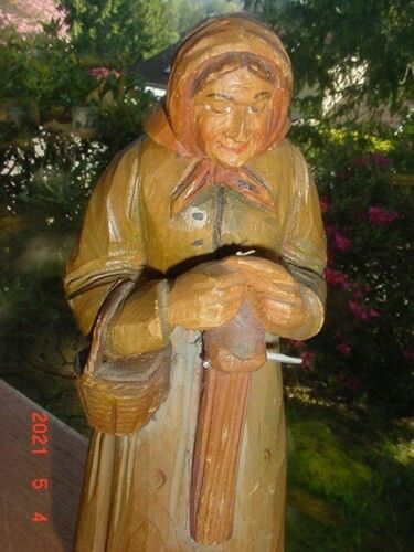 LARGE  ANRI CARVED WOOD FIGURE OF WOMAN ITALY OR BLACK FOREST GERMANY
