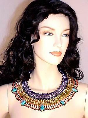 Halloween Costume LUCK Scarabs Orange Amethyst Small Cleopatra Necklace - Cleopatra Costume Necklace