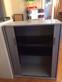 Low Grey Metal Tambour Cupboards