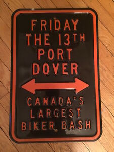 FRIDAY THE 13TH PORT DOVER BIKER SIGN