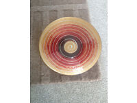 "Glass fruit bowl - modern pattern 13"" dia"