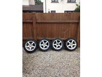 """4 x bk racing alloys 15"""" good tyres"""