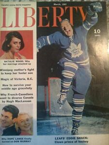 Liberty magazine March 1962 Eddie Shack autograph