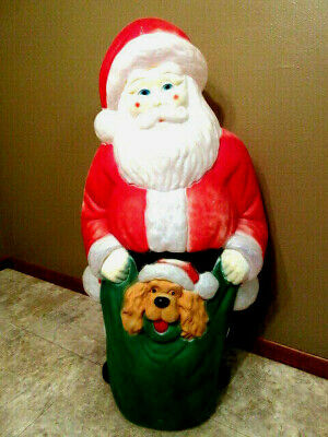 """Vtg Large """"Empire"""" Lighted Santa with Puppy/Toy Sack Blow Mold -43"""" tall- RARE!"""