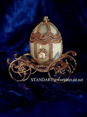 Russian Imperial Tsarina Alexandra Emerald Green Carriage Egg &matching Necklace