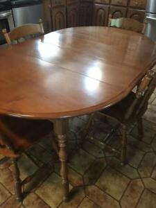 SOLID WOOD DINING SET, TABLE AND FOUR CHAIRS