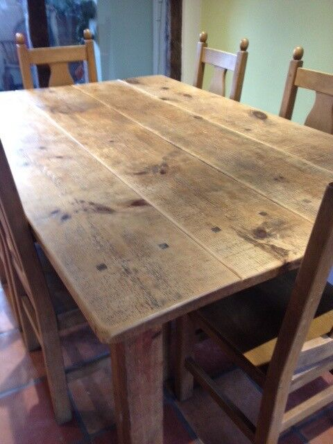 Strange Reduced Solid Chunky Rustic Pine Plank Dining Table And 6 Solid Beech Dining Chairs In York North Yorkshire Gumtree Download Free Architecture Designs Jebrpmadebymaigaardcom