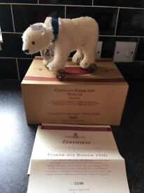 Steiff Polar Bear on Wheels Club Edition 1999/2000 Mohair - Rare Item