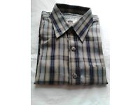 Shirt with Blue/Sky Blue/cream vertical stripes, long sleeve