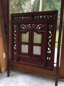 Rare Artisanal Decorative Carved Wood Shutters