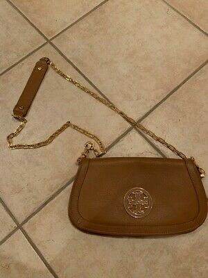 Authentic Tory Burch brown handbag with golden band