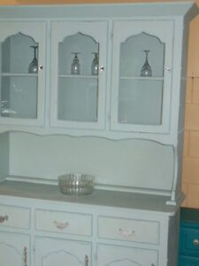 chalk painted, distressed, waxed, wood hutch, with crystal knobs London Ontario image 2