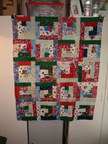 """Scrappy Christmas Log Cabin Quilt Top 35"""" x 43"""""""