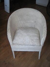 white lloyd loom style chair