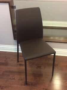 Structube DANICA leather chair brown x3 (perfect & clean cond.)