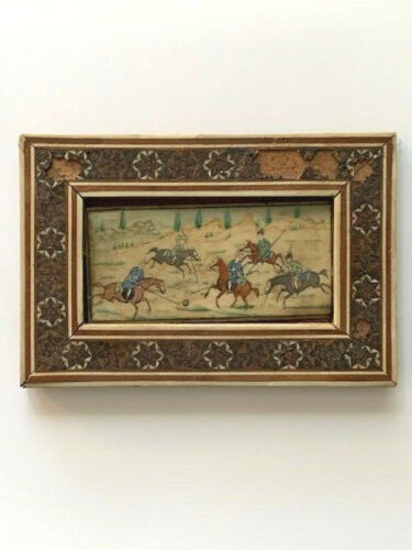 VINTAGE Persian Miniature PAINTING OF CHOVGAN Players