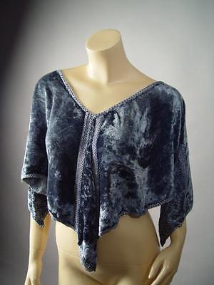 Gray Velvet Crochet Renaissance Medieval Evening Stole Shawl Wrap 206 mv - Velvet Capelet