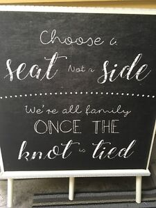wedding sign ..choose a seat not a side