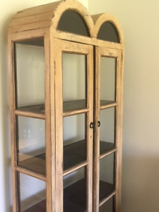 Glass and distressed wood hutch