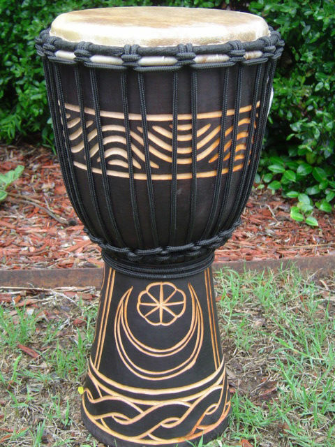 "SALE ! 16"" x 8-9"" PRO DJEMBE DRUM BONGO ~ Moon & Star (M3)"