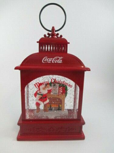 "Coca-Cola Santa Lantern Light-up Glitter Waterglobe Holiday Christmas LED 9"""