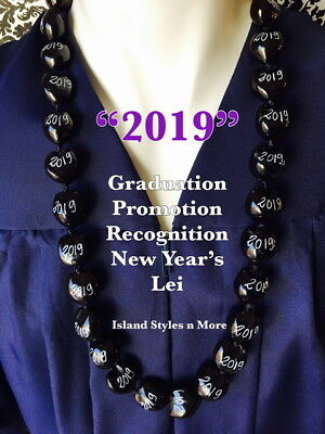 Hawaiian Kukui Nut Lei 2019 Graduation Wedding Promotion Lei Necklace BLACK NWT