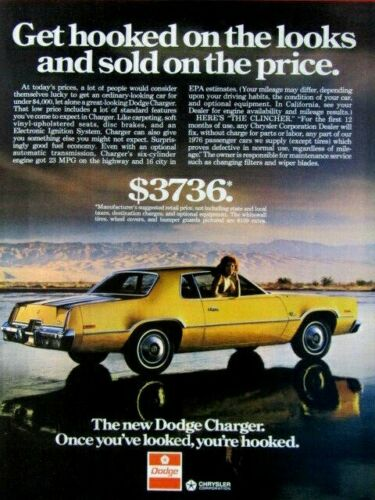 1976 Dodge Charger Get Hooked On The Looks Original Print Ad 8.5 x 11""