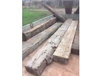 Selection of hardwood un-tarred sleepers, oak and jarrah