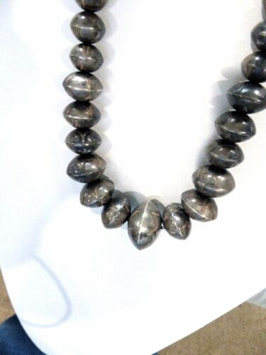 """Old Pawn Navajo Sterling Silver Bead Hand Stamped Pearl Necklace 24"""" 75 GRAMS"""