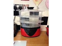 Egl red food & veg steamer, good condition