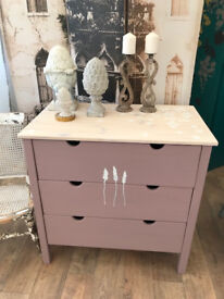 Lovely shabby chic pine nursery chest of drawers