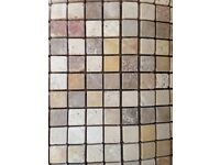CLEARANCE Tumbled stone mosaics, beige brown mix. Tiling projects, crafts