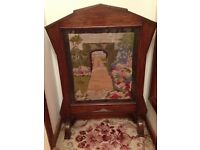 Vintage oak tapestry screen