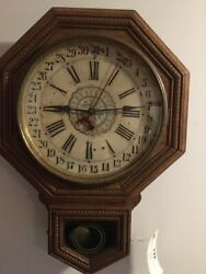 ANTIQUE OAK REGULATOR WALL CLOCK MADE FOR WILLIAM WRIGLEY JR & CO. KEEPS TIME
