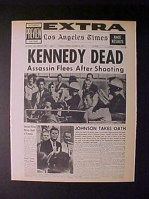 Vintage Newspaper Headline  Us President John Kennedy Killed Gun Shot Jfk Dead